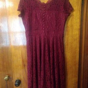 Women's Red Lace Full Skirt Dress XL